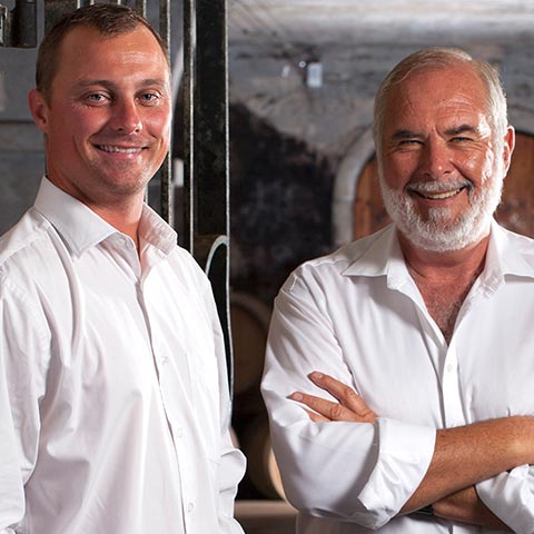 Winemaker Chris Albrecht & Peter Finlayson